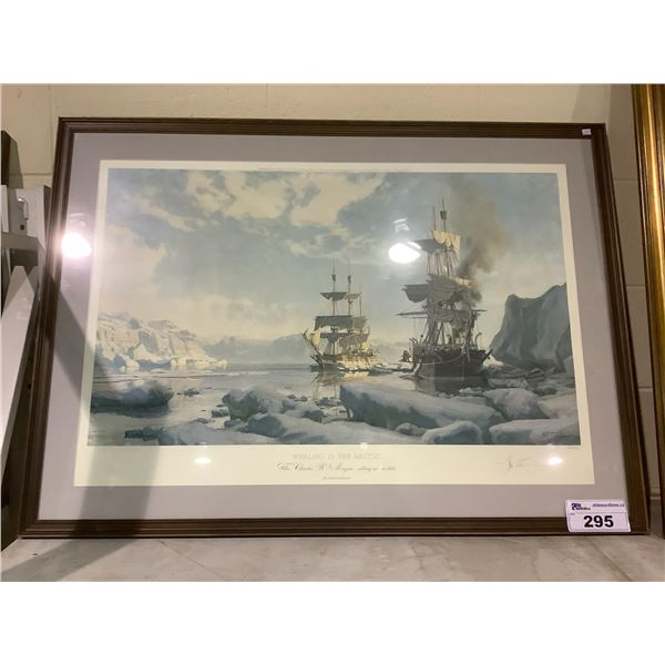 FRAMED AND ARTIST SIGNED LEP 637/850 BY JOHN STOBART WHALING IN THE ARTIC THE CHARLES W. MORGAN