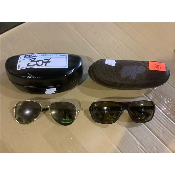 RAYBAN SUNGLASSES (SCRATCHES ON LENS) WITH A HARD CASE