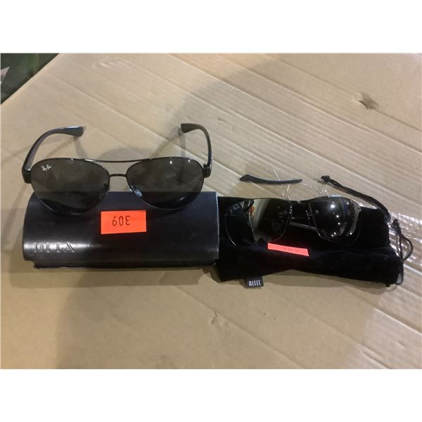 2 RAY BAN GLASSES WITH SCRATCHES ON LENSES