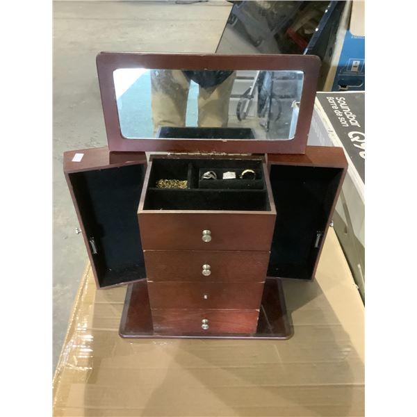 JEWELRY BOX WITH CONTENTS MISSING 1 KNOB