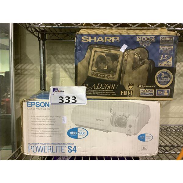 EPSON POWERLITE S4 PROJECTOR & SHARP CAMCORDER