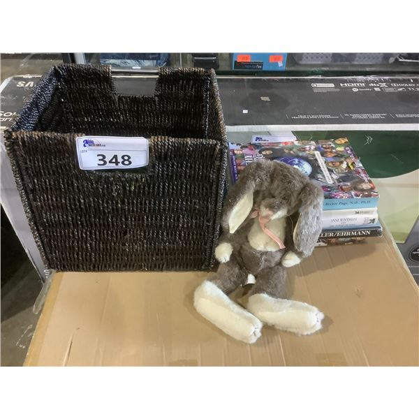 BASKET WITH RABBIT PLUSH AND ASSORTED BOOKS