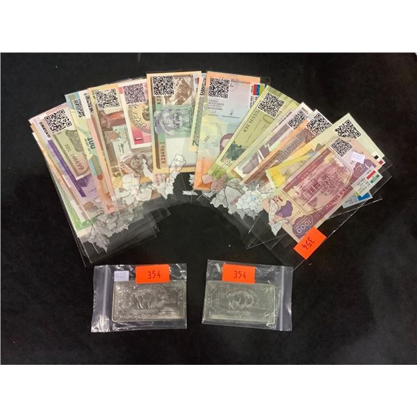 ASSORTED FOREIGN CURRENCY & 2 TROY OZ TITANIUM BUFFALO BARS
