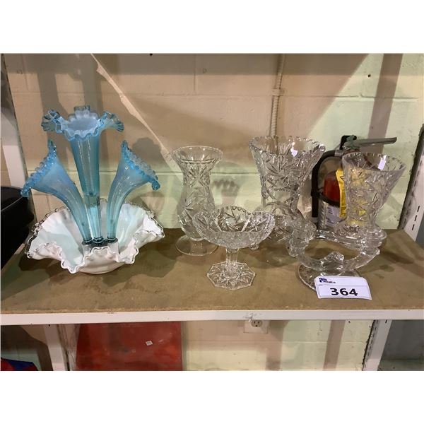 ASSORTED CRYSTAL WARE AND VASE (MISSING 1 BLUE FLOWER)