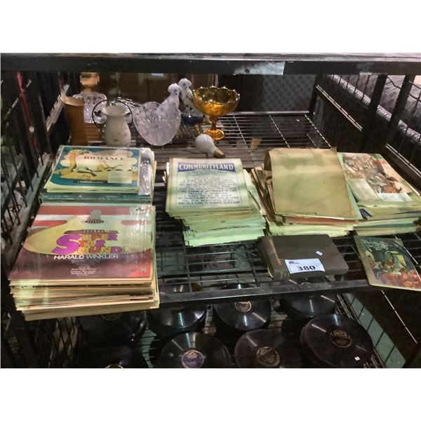ASSORTED VINYL RECORDS AND MUSIC SHEETS