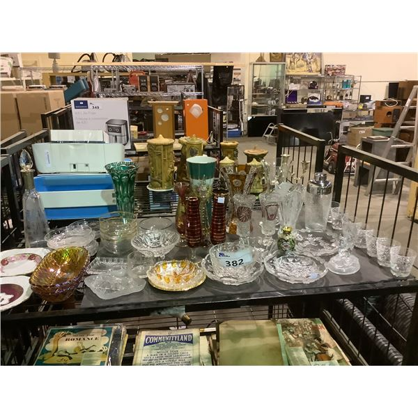 ASSORTED CRYSTAL WARE, VASES, DISHWARE, & DECANTER