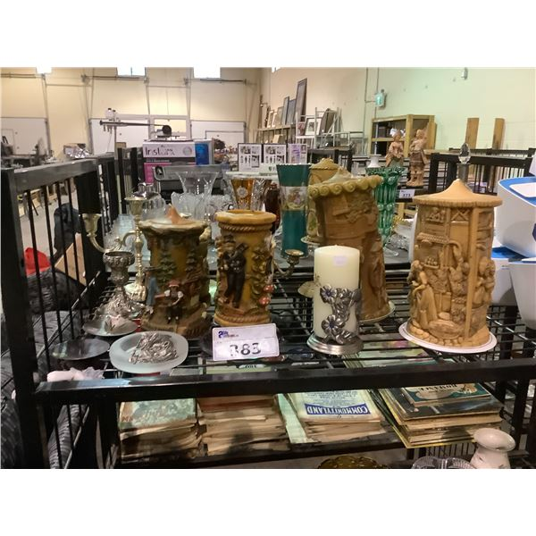 ASSORTED CANDLES AND CANDLE HOLDERS