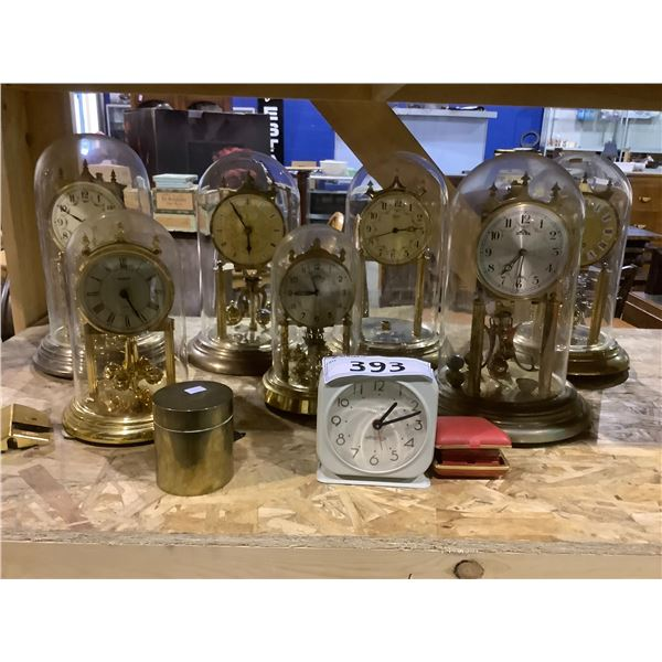 ASSORTED TABLE TOP CLOCKS BRANDS INCLUDE: SOLAR, MIRADO, SILVER BELL, & MORE