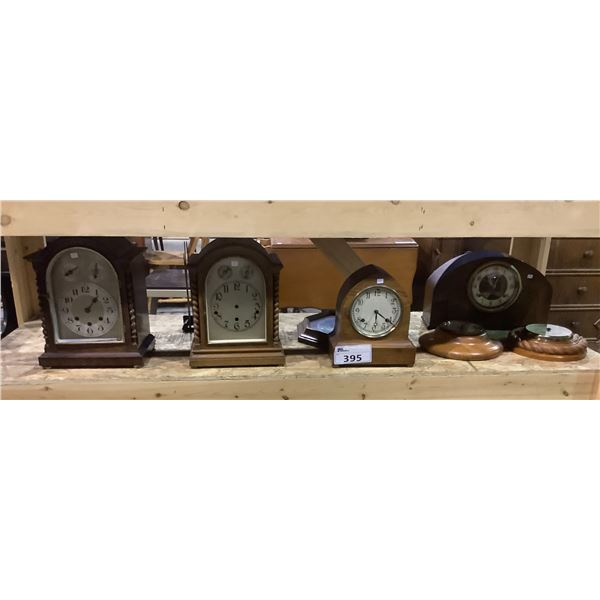 ASSORTED TABLE TOP AND WALL CLOCKS + A DUCK PLATE