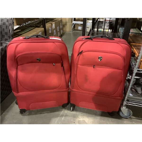 2 ROLLING RED HEYS SUITCASES
