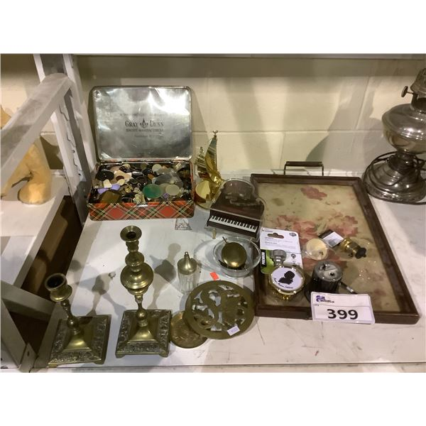 CANDLE STICK HOLDERS, SERVING TRAY, ASSORTED BUTTONS, & MORE