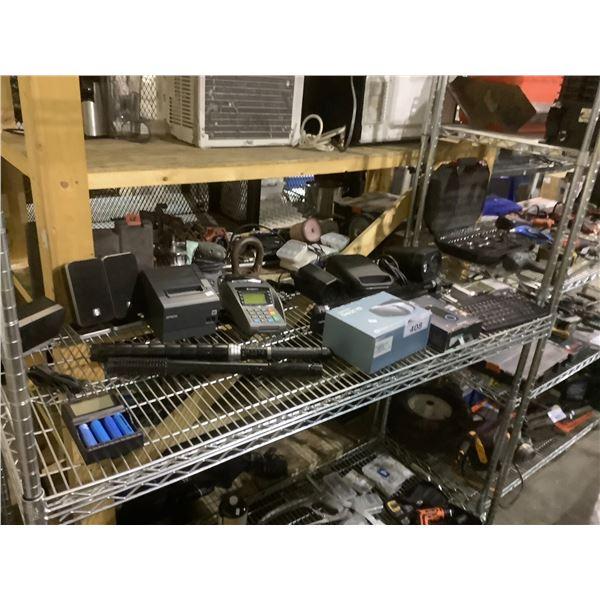 ASSORTED ELECTRONICS INCLUDING: POS MACHINE, KEYBOARD, NOTIFI DOORBELL, & MORE