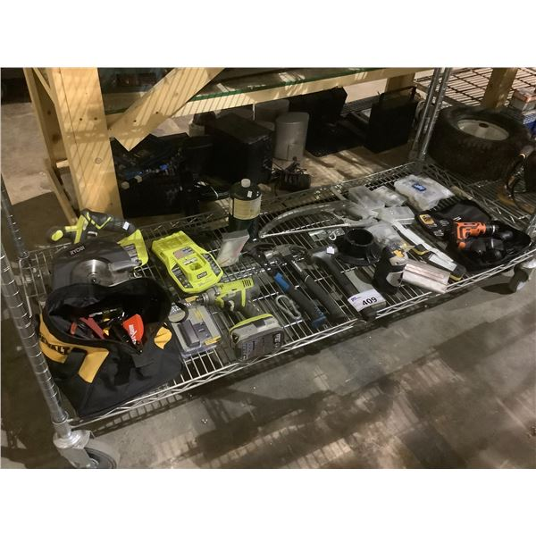 RYOBI DRILL WITH BATTERY + CHARGER, HAMMERS, SAW, & MORE