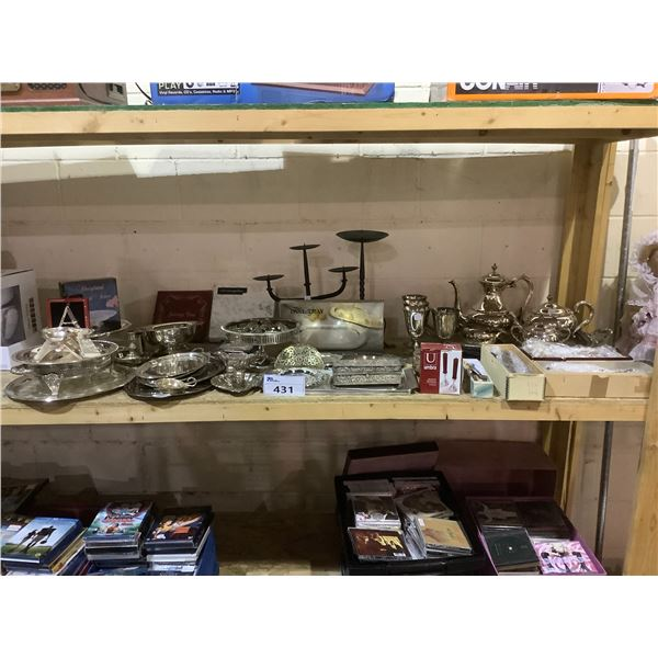 ASSORTED SILVER PLATED AND NON SILVER PLATED ITEMS AND 2 CANDLE HOLDERS
