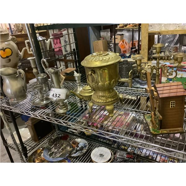 ASSORTED POURERS, CANDLE HOLDERS, & MORE