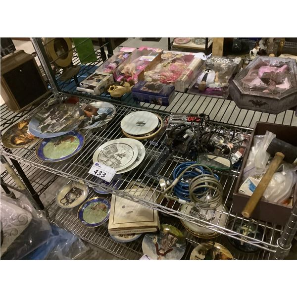 ASSORTED COLLECTIBLE PLATES, AIR COMPRESSOR, HAMMER, & MORE