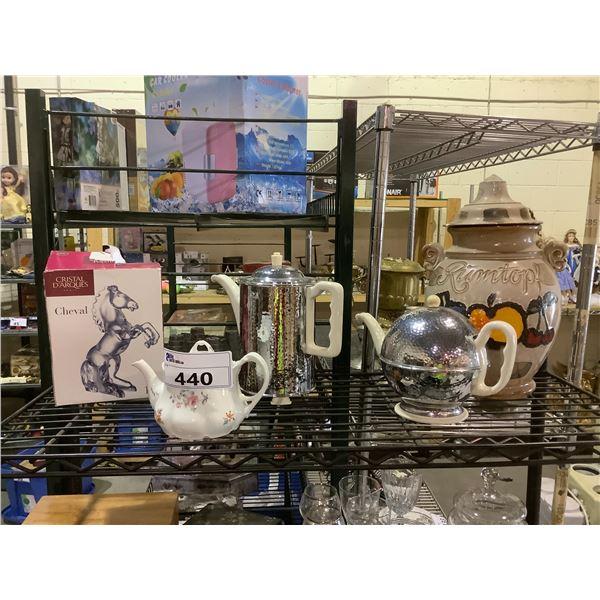 TEA POTS, COOKIE JAR, & HORSE DECOR