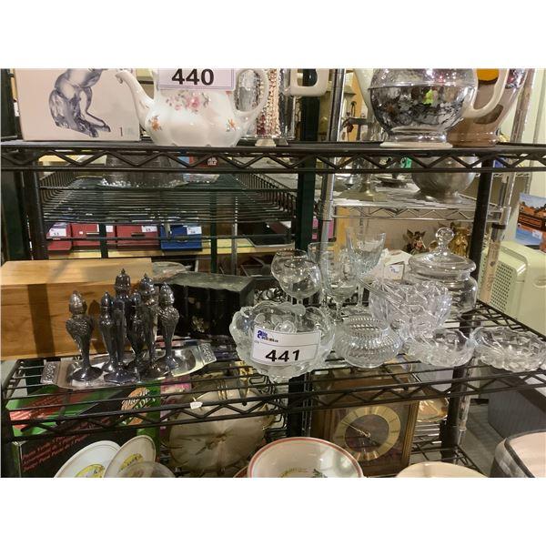 ASSORTED GLASSWARE, SEASONING SHAKERS, & MORE