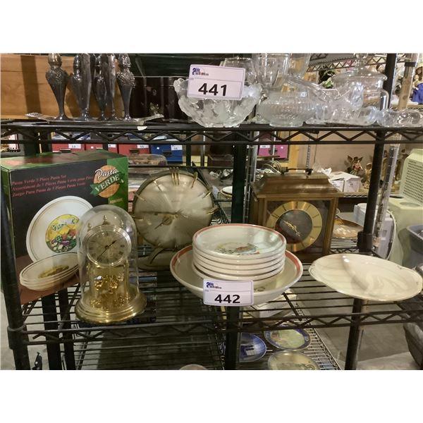 ASSORTED DISHWARE & TABLE CLOCKS