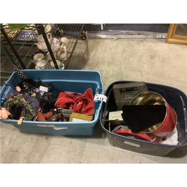 2 TOTES OF CONTENTS INCLUDING: HALLOWEEN DECOR, TOOLS, PICTURE FRAMES, & MORE