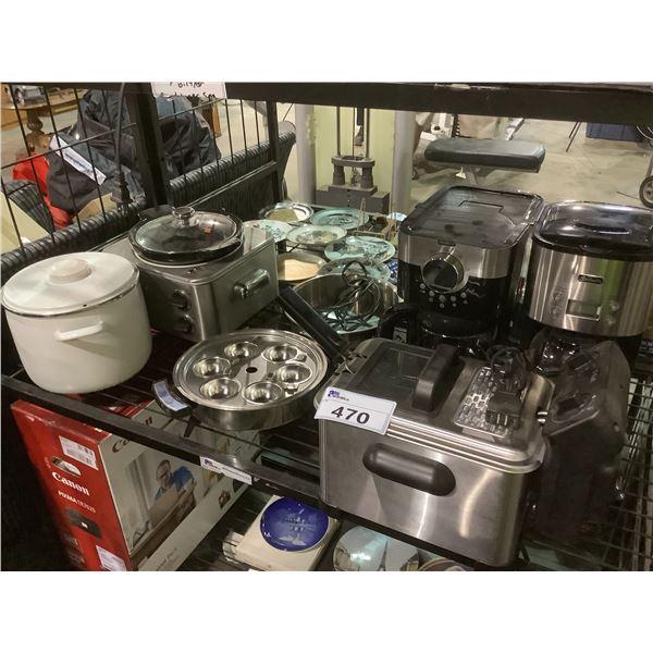TFAL DEEP FRYER, COFFEE MAKERS, HOLLAND POTTERY POT, & MORE