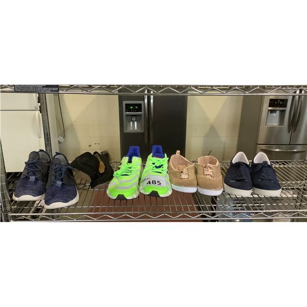 5 PAIRS OF SHOES BRANDS INCLUDE: ADIDAS, BANANA REPUBLIC. & MORE SIZES: 10, 9,