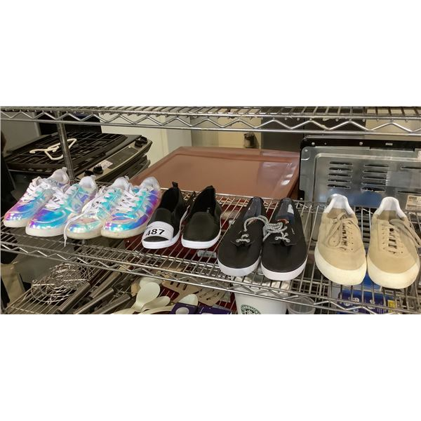 5 PAIRS OF SHOES BRANDS INCLUDE: ARDENE, ADIDAS, CIRCA, & MORE SIZES 10, 9.5, 9