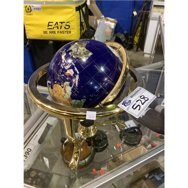 TABLETOP GEMSTONE GLOBE WITH COMPASS BASE