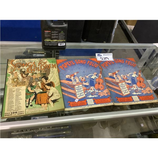 2 POPEYE SONG FOLIOS AND SONG FOR CHILDREN MUSIC BOOKS