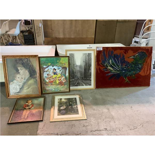 ASSORTED FRAMED ART AND CARPET ART PIECE