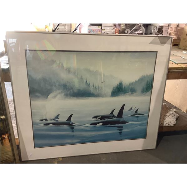 FRAMED AND ARTIST SIGNED ORCA PRINT BY WYLAND 1985