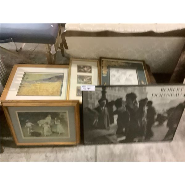 ASSORTED FRAMED ART PIECES AND PRINTS (ONE WITH BROKEN GLASS)