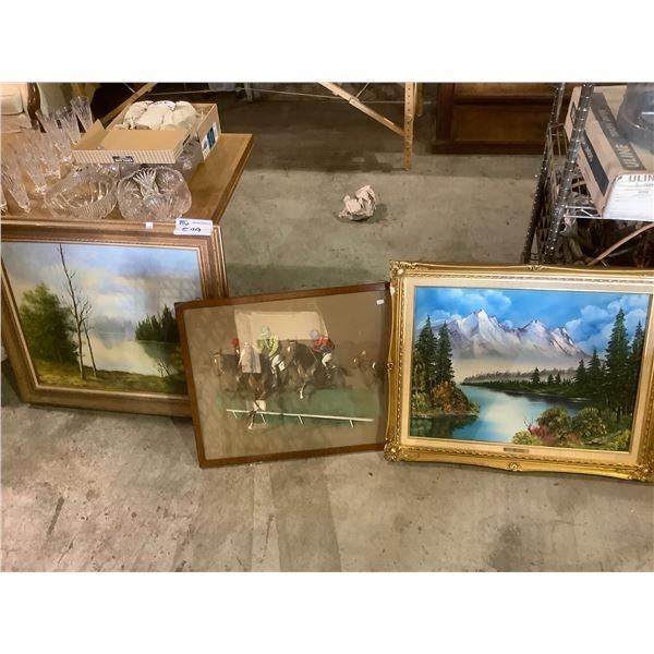 3 ASSORTED FRAMED ART PIECES
