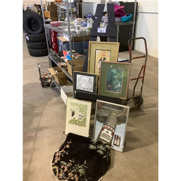 ART EASEL, SMALL AREA RUG AND ASSORTED ART