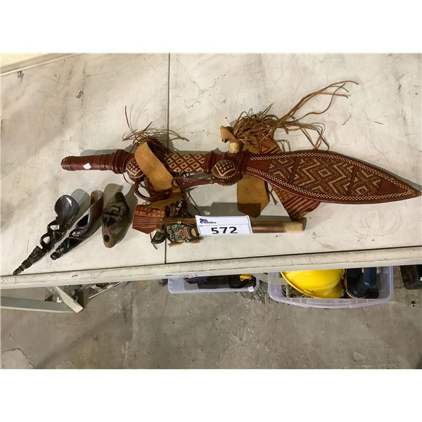 ASSORTED COLLECTABLES; MACHETE, HORN SCOOPS AND MORE