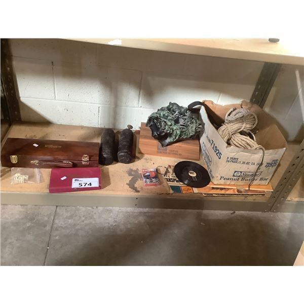 BOX OF ROPE, VOLCANIC GLASS ORNAMENT, GAMES AND MORE