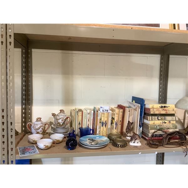 ASSORTED BOOKS, TEA SET, AND COLLECTABLES