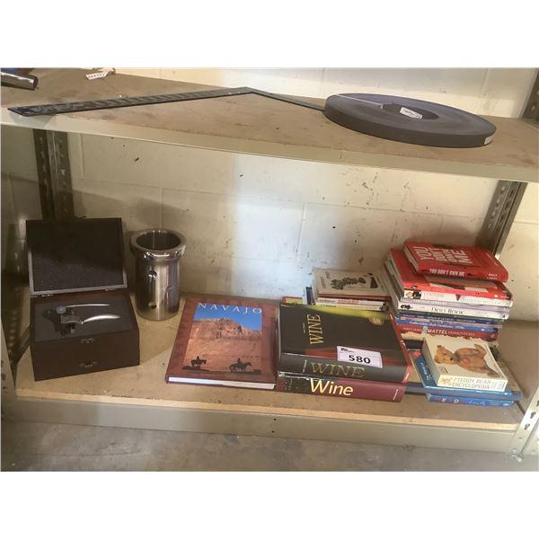 WINE OPENER, WINE ICEBOX AND BOOKS