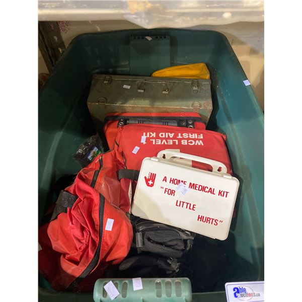 BIN OF ASSORTED FIRST AID EQUIPMENT