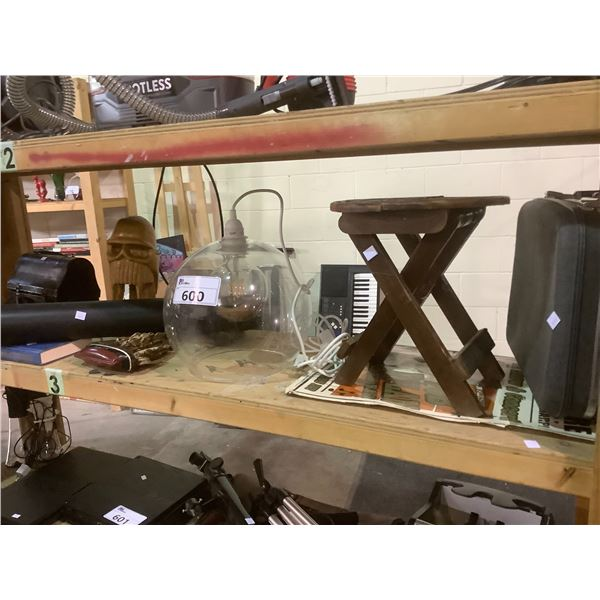 SHELF OF ASSORTED COLLECTABLES, LIGHT FIXTURE, AND MORE