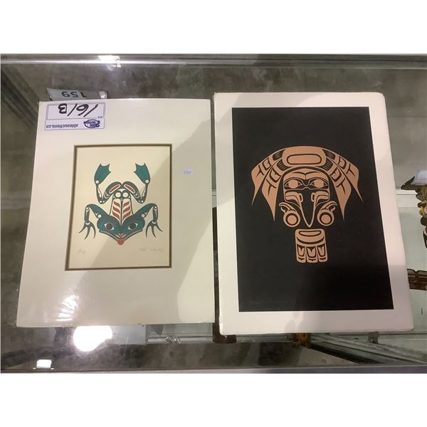 2 FIRST NATIONS PRINTS : LEP 115/145 RAVEN BY PAM HOLLOWAY 1994 & FROG BY PAT WESLEY