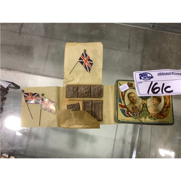 ANTIQUE TIN WITH BRITISH PINS AND CHOCOLATE (NOT EDIBLE)