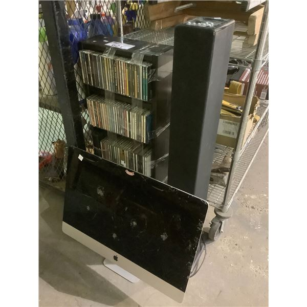 IMAC FOR PARTS/REPAIR, STANDING SPEAKER, ASSORTED CDS, & CD STAND