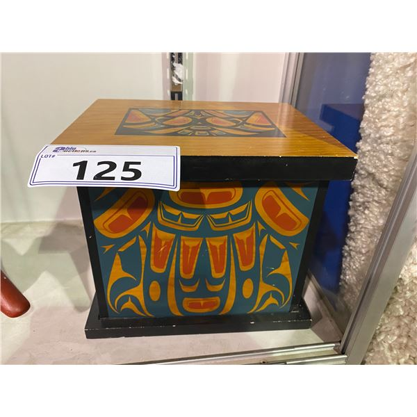 WEST COAST FIRST NATIONS WOODEN KEEPSAKE BOX BY CLARENCE A. WELLS