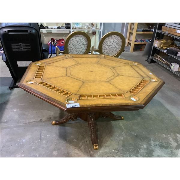 DELUXE 8 PERSON CARVED WOODEN LEATHER TOPPED POKER TABLE
