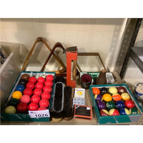 ASSORTED BILLIARDS AND SNOOKER BALLS, CUE CHALK, TRIANGLES, TABLE BRUSHES, AND MORE