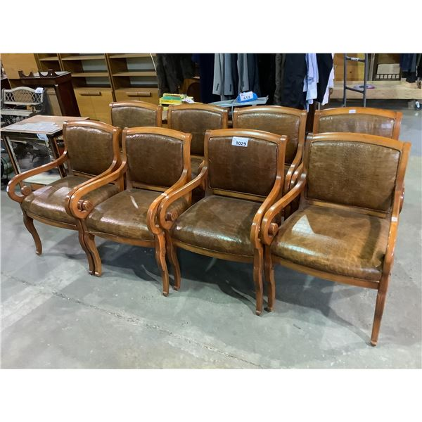 SET OF 8 BEAUTIFUL FAUX ALLIGATOR ARM CHAIRS