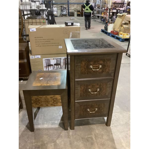 SIDE TABLE AND MARBLE TOP 3 DRAWER CABINET