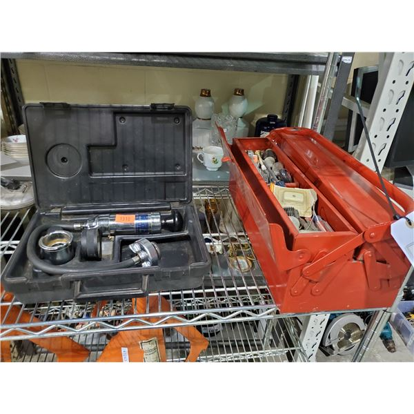 STANT COOLING PRESSURE SYSTEM TESTER & RED TOOL BOX OF ASSORTED CONTENTS