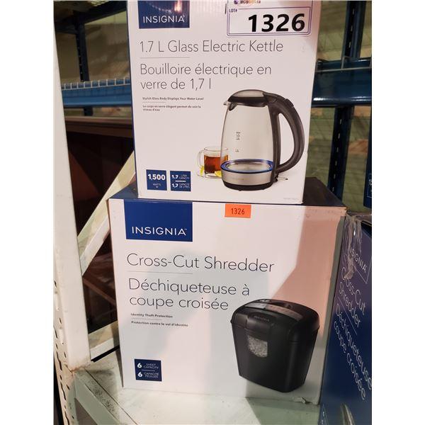 INSIGNIA CROSS-CUT SHREDDER & INSIGNIA 1.7L GLASS ELECTRIC KETTLE